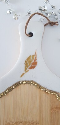 Serving board/platter white and gold