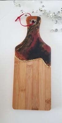 Serving board/platter red/black - small