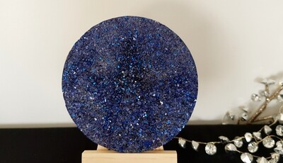Druzy quartz/crystal deep blue coaster x 1