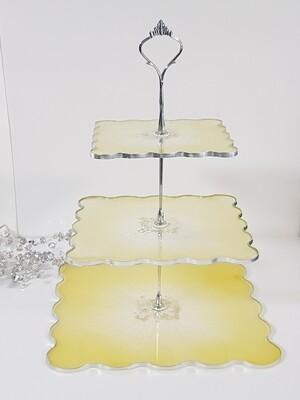 3 tier citrine/yellow cake/goodies stand