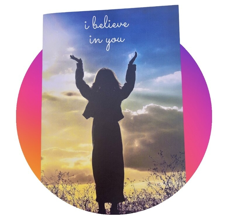 Lyrics Greetings Card -I Believe in You - Blank Card
