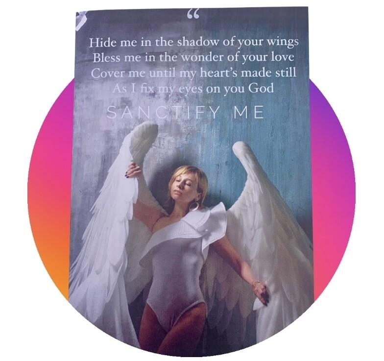 Lyrics Greetings Card - Shadow of your wings- Sanctify me - Blank Card