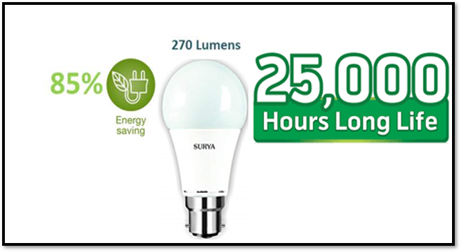 SURYA LED Bulb 3W Pin Type(Pack of 03)