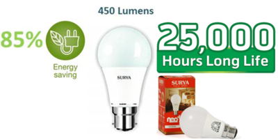 SURYA LED Bulb 5W Pin/Screw Type(Pack of 03)