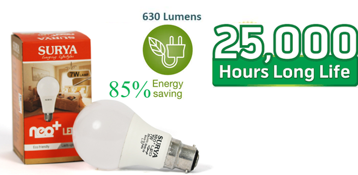 SURYA LED Bulb 7W Pin Type(Pack of 03)