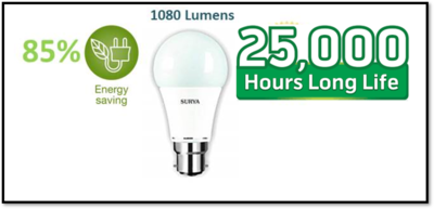 SURYA LED Bulb 12W Pin/Screw Type(Pack of 03)