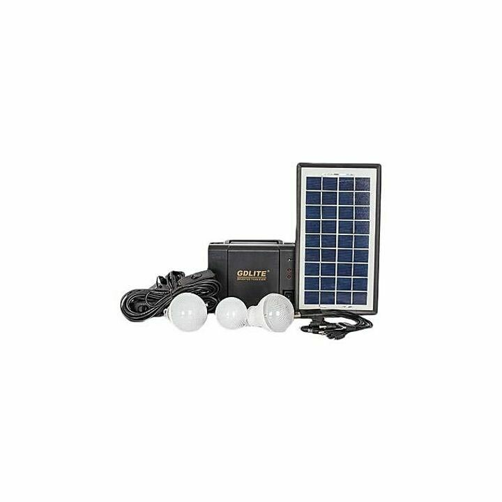 GDLITE GD-8006 Portable/ Emergencies Home Solar Lighting System- Solar Panel, & Led Bulb- Light Bulbs, Charges Phones/ Tablets/ Power Banks