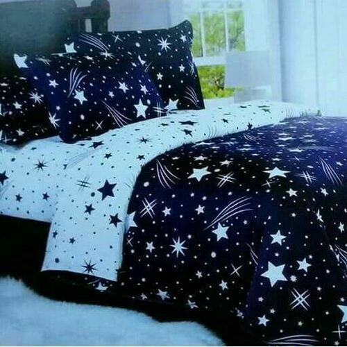 Generic 1 Duvet, 1 Bedsheet, 2 Pillowcases - Blue & White with Star Print