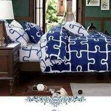Generic 1 Duvet, 1 Bedsheet, 2 Pillowcases - Blue & White with Puzzle  Print