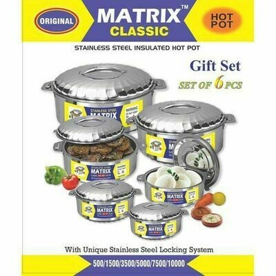 6 Piece Stainless Steel Hot Pot Food Server -Silver