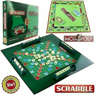 SCRABBLE & MONOPOLY 2 In 1 Set Classic Board Game Educational Learning Toy