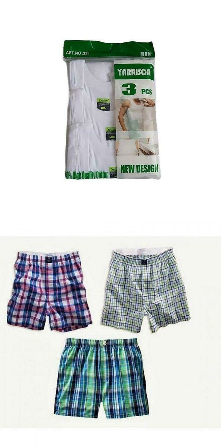 3  High Quality Cotton Vests +  3 Pure Cotton Checked Boxers- Assorted Colors