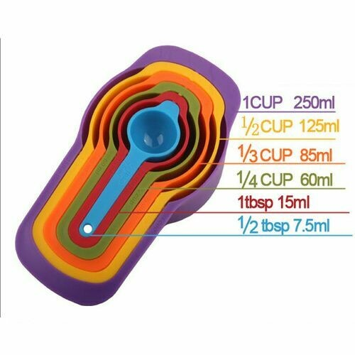 Measuring Cup and Spoon Set - Stackable Colorful Plastic for Kitchen Baking tools (6pcs Random Color)