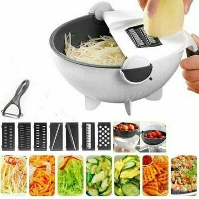Kitchen Wet Basket 9-in-1 Multi-functional Vegetable Cutter