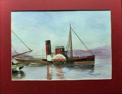 Dennis Chadra - San Francisco Paddleboat Original Watercolor Matted 1990 Signed