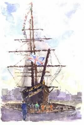 """""""Cutty Sark"""", Greenwich"""" Original Watercolor 1989 - Edmond Perini (1922 - 1991)"""