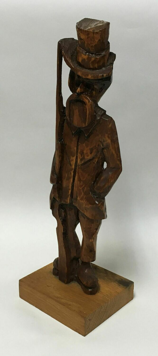 Wood Carved Man with Rifle – Hand-crafted Signed Folk Art by Earl Steinke 1983