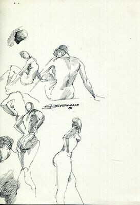 "Joe Develasco Estate – ""Multiple Female Figures"" Pen on WC Paper 8.25"" x 5.75"" Signed 1981"