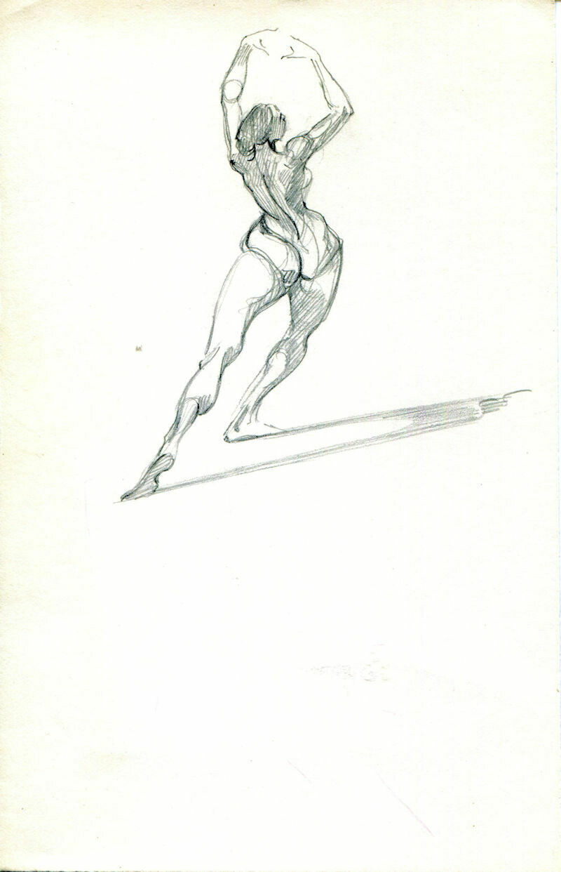 "Joe Develasco Estate - ""Female Figure"" Pencil on Paper Unsigned c1981"