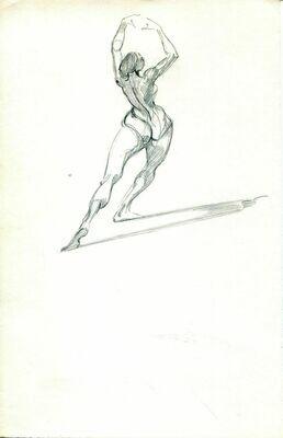 "Joe Develasco Estate - ""Female Figure"" Pencil on Paper Unsigned c1981"