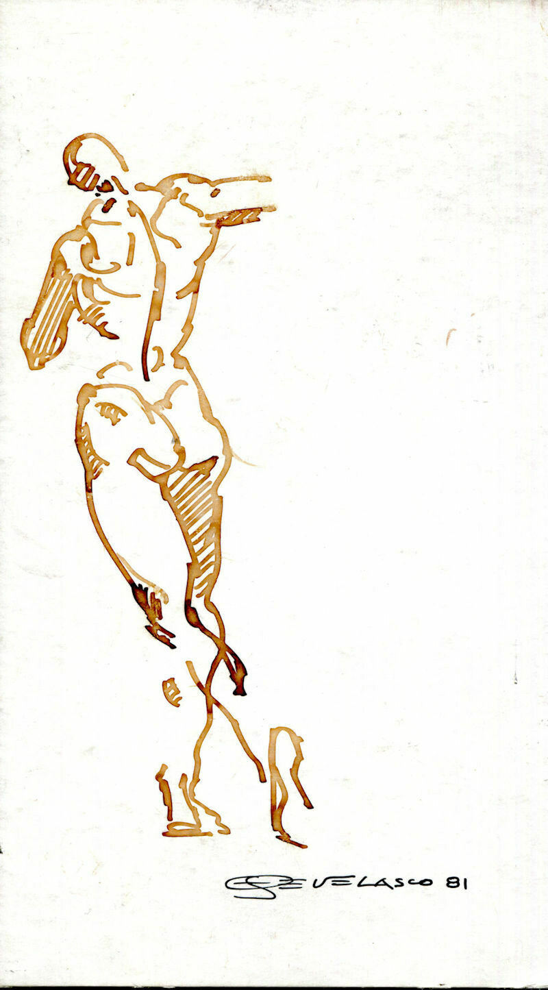Joe Develasco Estate - Male Figure Pen on Illustration Board Signed 1981