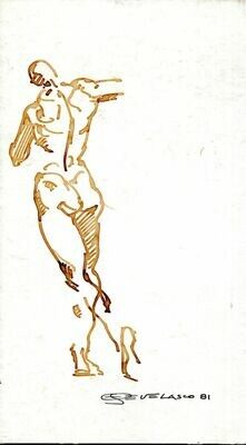 Joe Develasco Estate - Male Figure Pen on Illustration Board Signed 1981