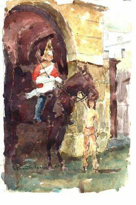 """""""White Hall"""" Original Watercolor 1989 - Edmond Perini (1922 - 1991) 1981"""