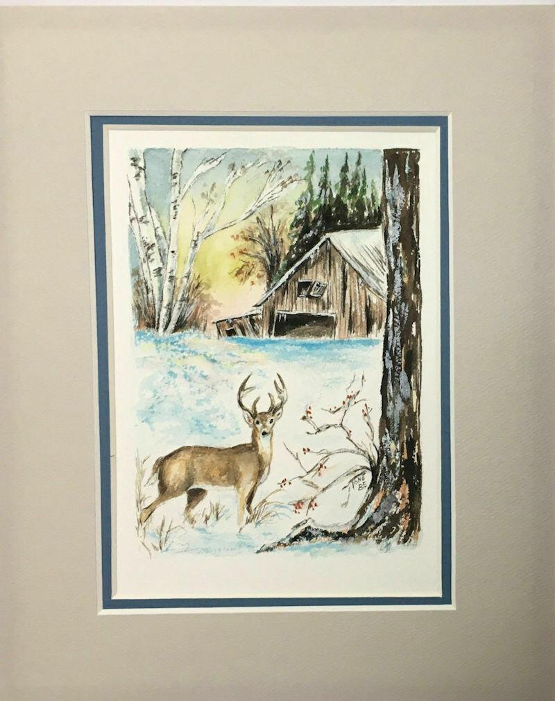 "Original Signed Watercolor ""Michigan Winter"" by Ione Monzel 1985"