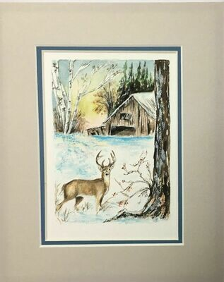 "Original Signed Watercolor ""Michigan Winter"" by Ione Monzel 1985"