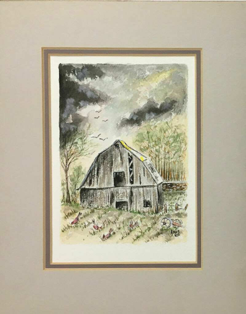 "Original Signed Watercolor ""Spring Storm"" by Ione Monzel 1985 8"" x 10"""