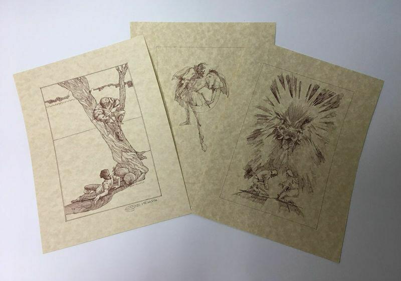 The Singer Trilogy 3-Piece Artwork Portfolio -Signed by Joe Develasco - c1974