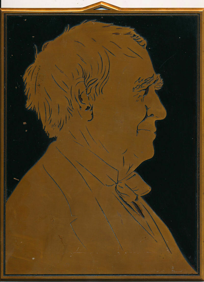 Thomas Edison Profile Etched Copper Plaque
