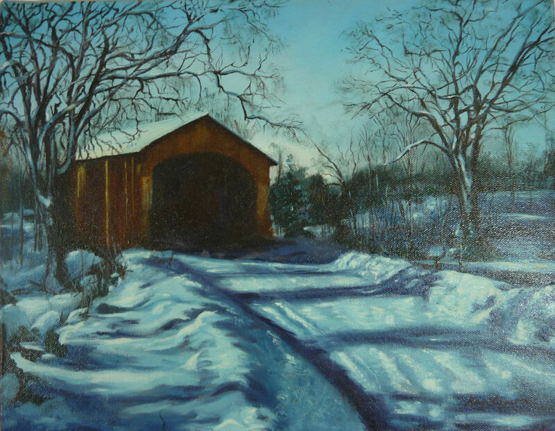 Covered Bridge Winter Scene - Oil Painting by Mary Ferguson c1982