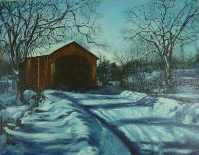 Covered Bridge Winter Scene - Oil Painting by Mary Ferguson c1982