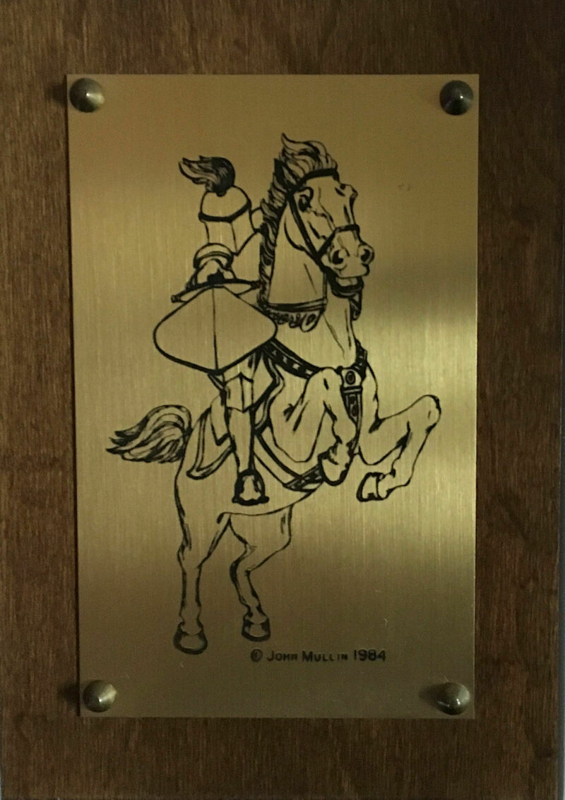 Medieval Knight Art Etched Brass Wall Plaque - John Mullin 1984