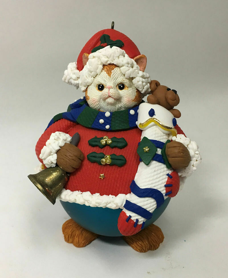 Traditions Collectibles Christmas Ornament Glass Character Cat Santa in Box