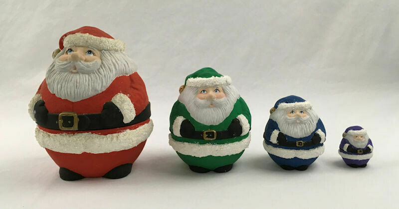 Four Santa Nesting Dolls Porcelain Hand Painted by Lynda 1993