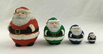 Four Santa Nesting Dolls Porcelain Hand Painted by Lynda 1993