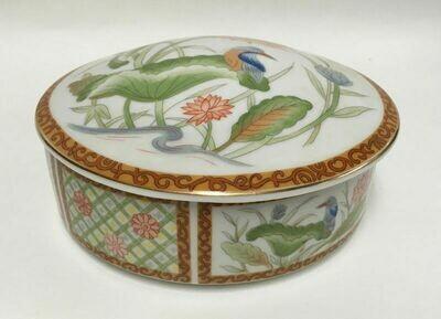 "Imari Ware Porcelain 6"" Diam Candy Dish / Trinket Box With Lid - Hand Painted Bird & Flowers"