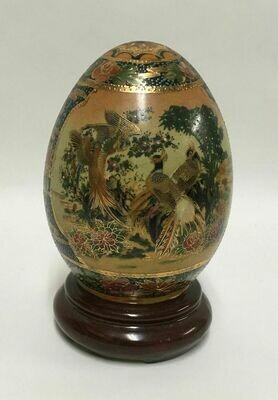 "Chinese 5-1/2""Tall x 3-1/4""Diam Hand Painted Enamel Porcelain Cloisonne Egg"