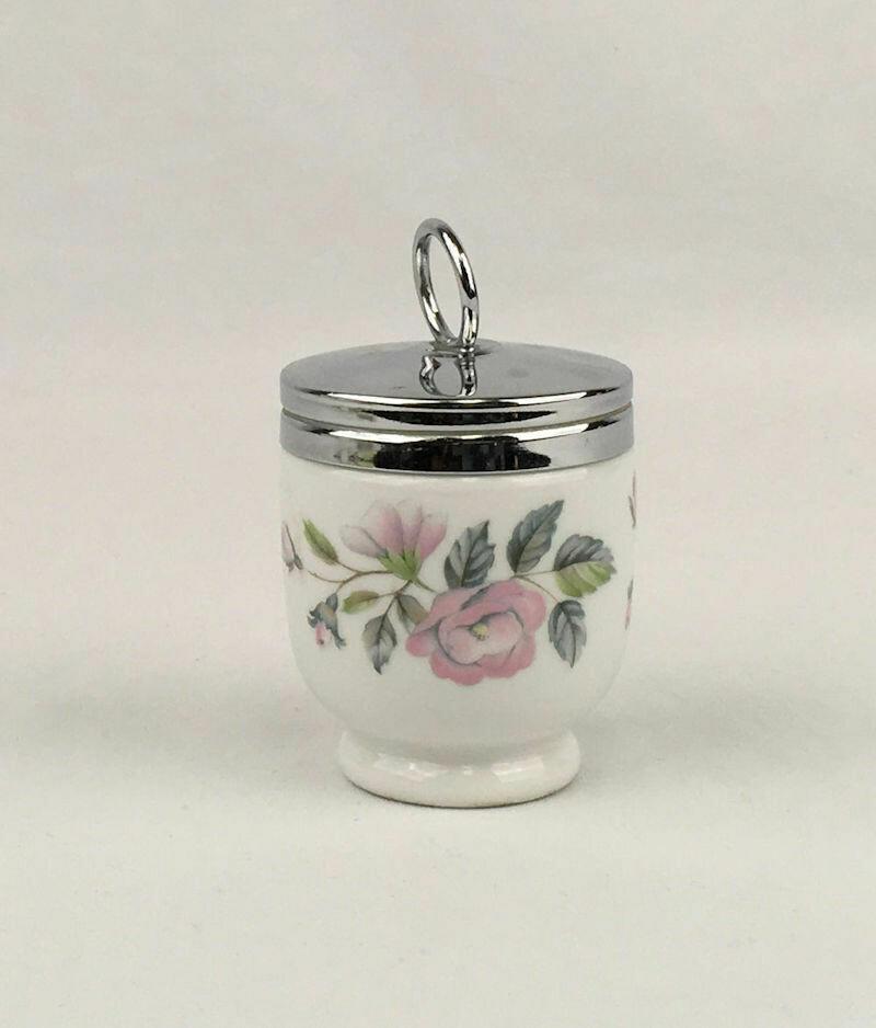 Royal Worcester Porcelain Egg Coddler Cup With Chrome Screw Lid.