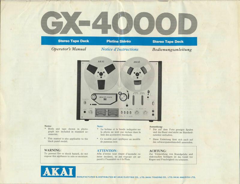 AKAI Operator's Manual for GX 4000D Reel to Reel