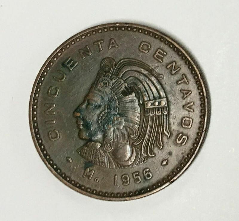 1956 Mexico ESTADOS UNIDOS MEXICANOS 50 Centavos Coin