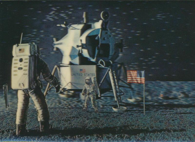 Apollo 11 Moon Landing 3D Post Card * Unused