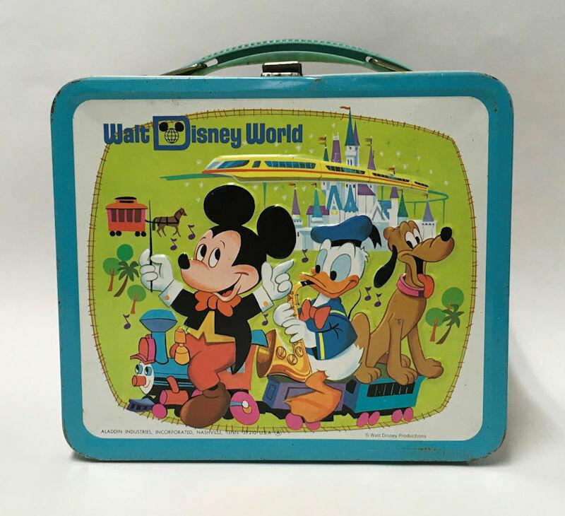 Walt Disney World Embossed Metal Lunch Box W/Thermos C1970s.