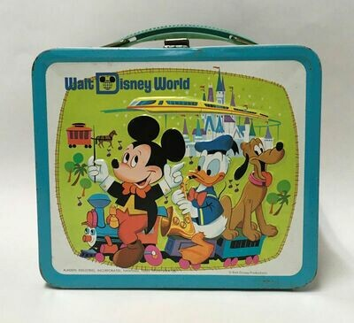 Walt Disney World Embossed Metal Lunch Box W/Thermos C1970s.