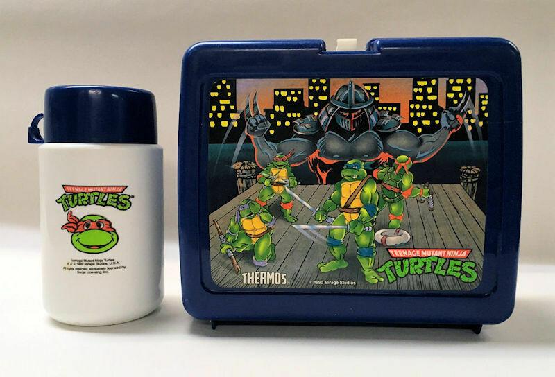 Teenage Mutant Ninja Turtle Blue Plastic Lunchbox with Thermos 1990