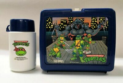 Teenage Mutant Ninja Turtle Blue Plastic Lunchbox with Thermos 1990