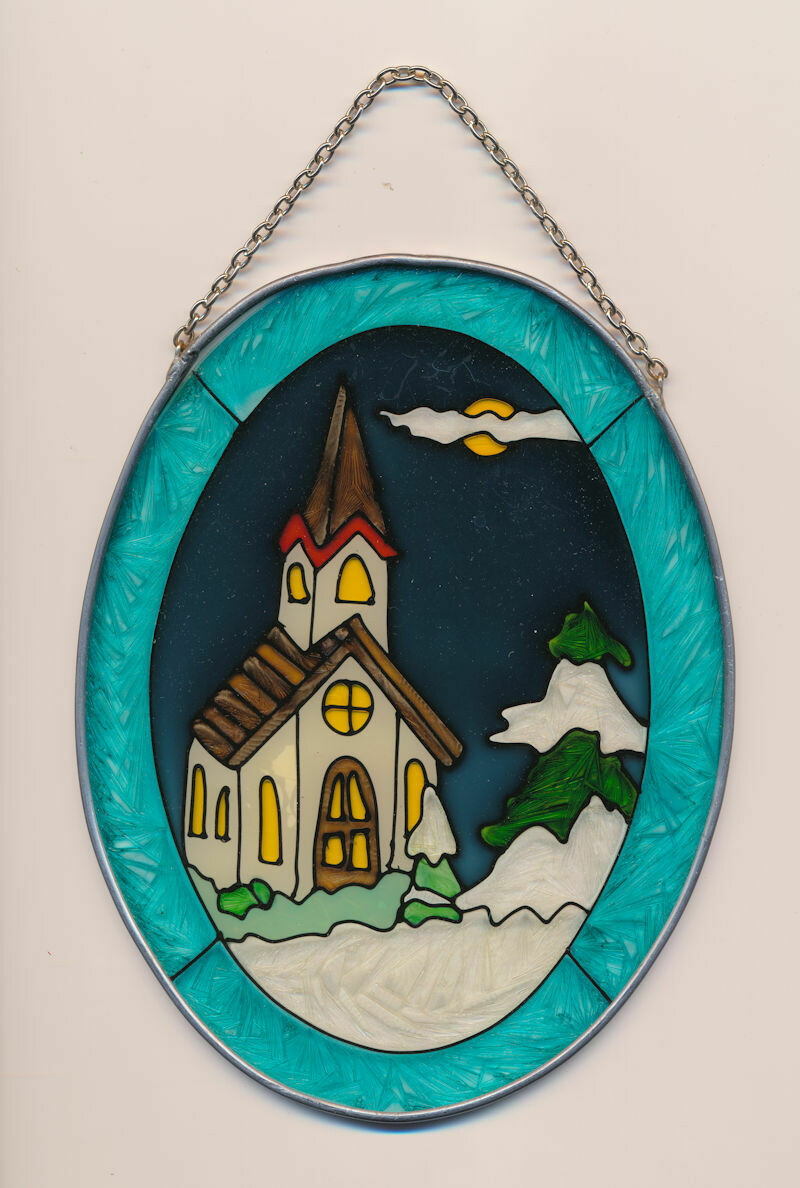 Oval Stained Glass Suncatcher With Chain and Aluminum Frame