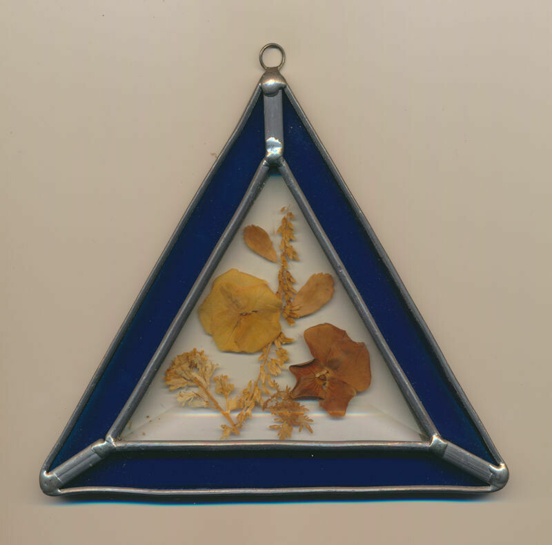 Triangular Stained Glass Suncatcher Cobalt Blue with Hanging Ring